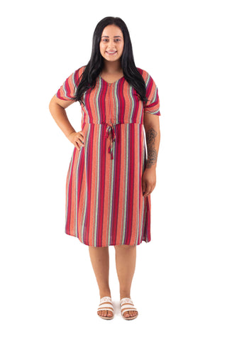 KELSEY BREASTFEEDING DRESS - RED STRIPE