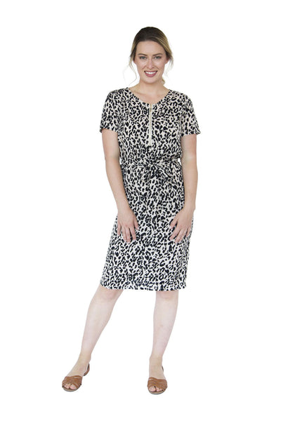 REAGAN BREASTFEEDING DRESS- LEOPARD