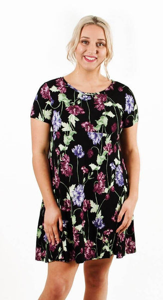 EMMA SHORT SLEEVE BREASTFEEDING DRESS - PURPLE FLORAL