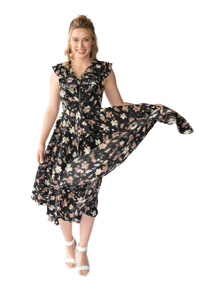 LAYLA BREASTFEEDING DRESS - BLACK FLORAL