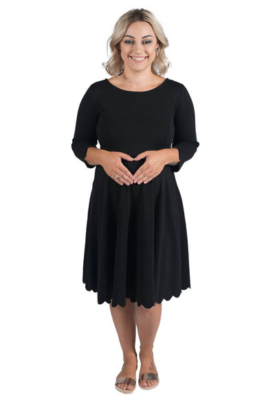 SOPHIA SCALLOP MATERNITY DRESS BLACK - CLEARANCE