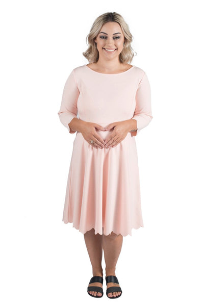 SOPHIA SCALLOP MATERNITY DRESS PINK - CLEARANCE