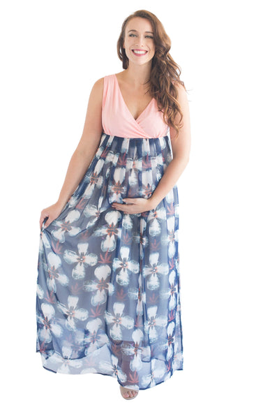 MELODY MATERNITY DRESS PEACH - CLEARANCE