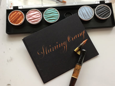 Golden Orange Finetec metallic ink at Calligraphy Supplies Australia