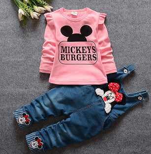 Spring 2017 Sets Minnie T-shirt & Denim Overalls Set