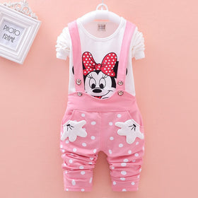 Baby Girls Minnie Mouse Outfit Set - T shirt + Overalls