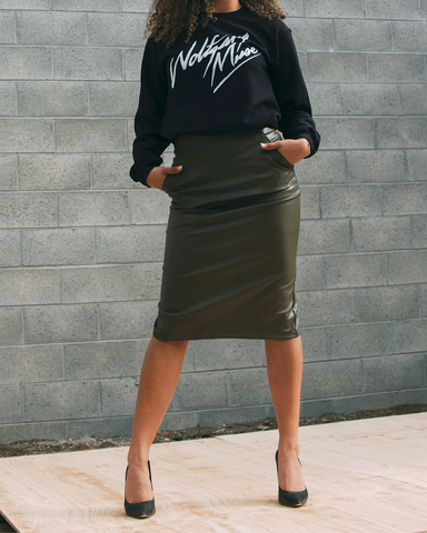 KHAKI LEATHER ENVY SKIRT