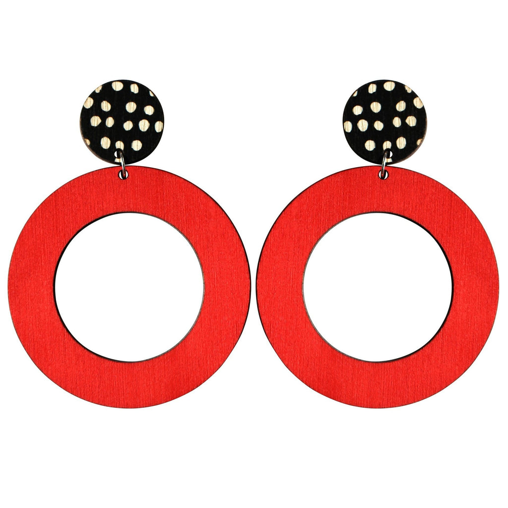 Red Hoops with Black/White dots