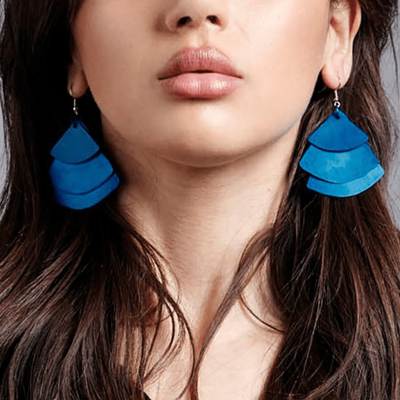 Monica Fan Earrings - Navy