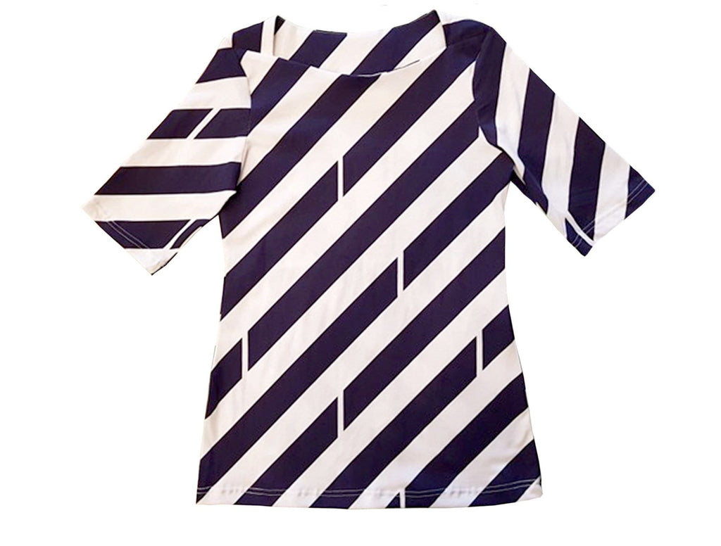 Boatneck Tee - Navy & White Diagonal Print