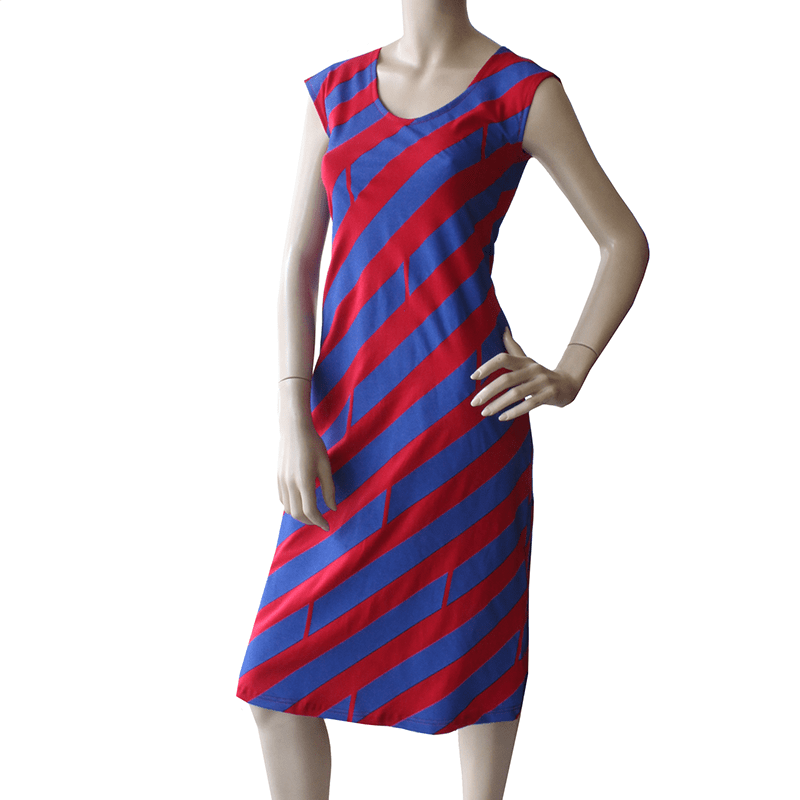 All Too Easy Dress - Diagonal Royal/Red Cotton dress Ethical Womens Fashion made in Sydney Australia by Dragstar