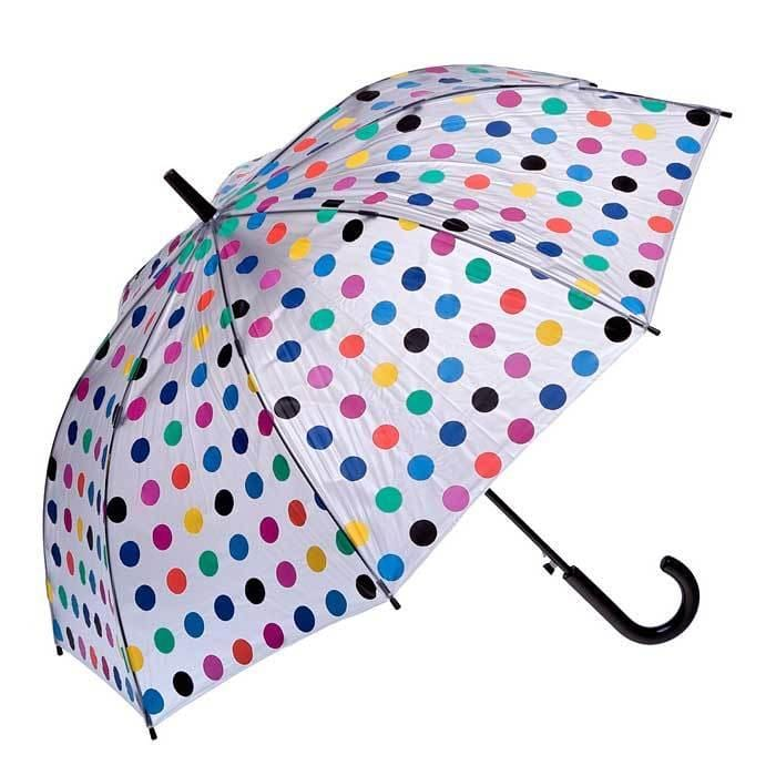 Clifton Umbrella - Clear/Multi Polka Dots