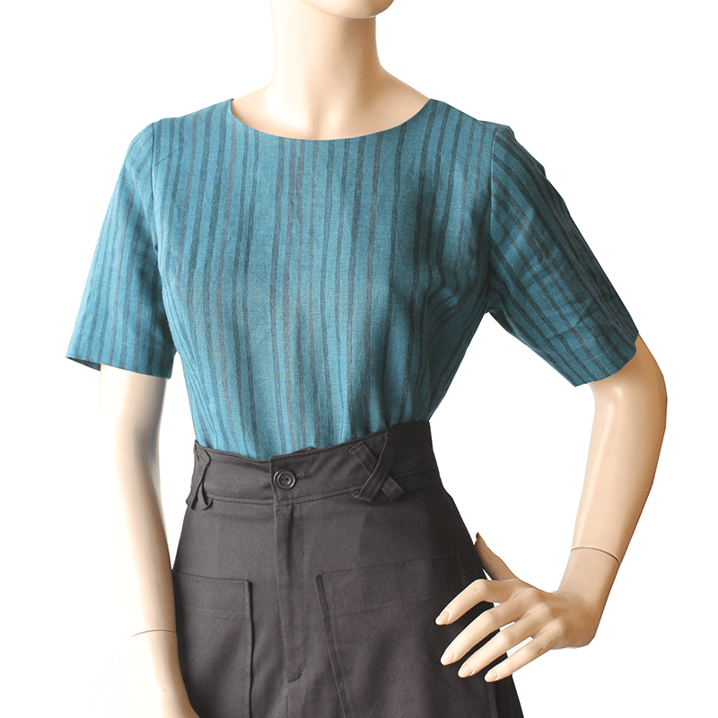 CUTE AS A BUTTON TOP Teal Stripe Dragstar Ethical womens fashion made in Sydney