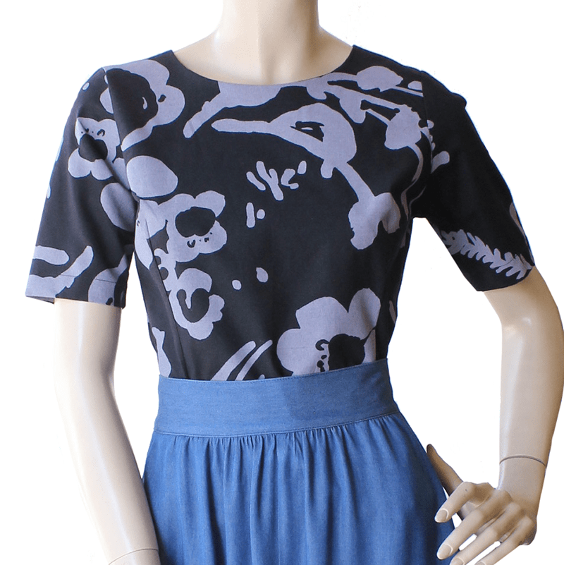 Cute As A Button Top - Botanical Lavender hand screen printed cotton Dragstar Ethical womens fashion made in Sydney