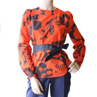 Dragstar Long Sleeve Smock Top - Botanical print on Orange cotton voile Ethical Womens Fashion made in Sydney Australia