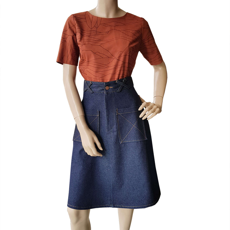 Patch Pocket Skirt - Dark Denim