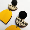 Scoops Layer Earrings - B&W Pattern with Yellow Arch