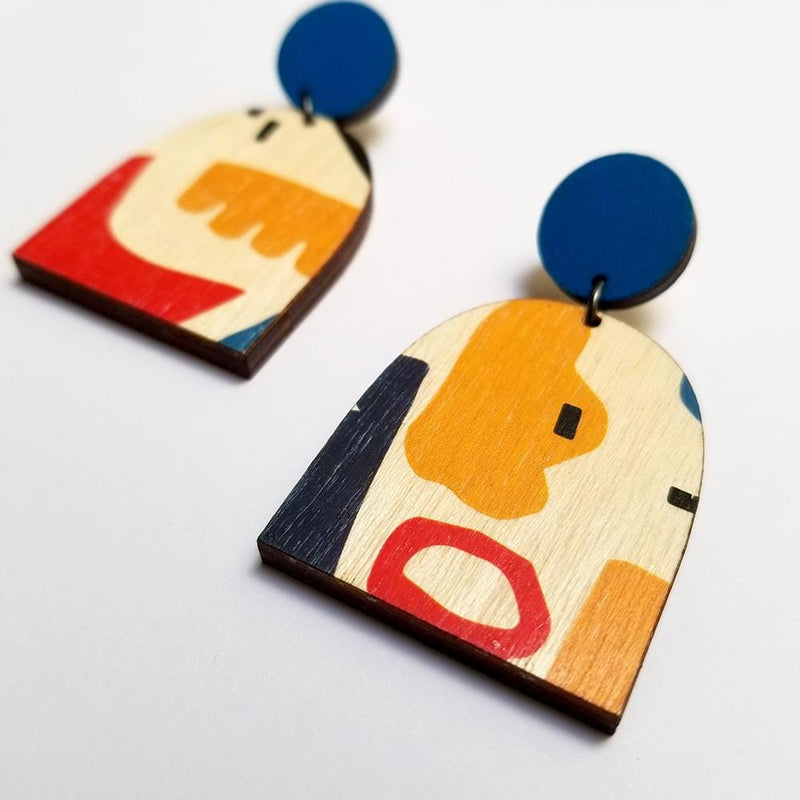 Scoops Layer Earrings - Blue with Abstract Arch