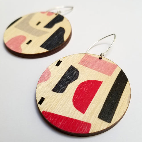 Scoops Abstract Circle Earrings - Pink Tone