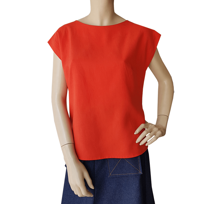 Bateau Top - Orange Tencel