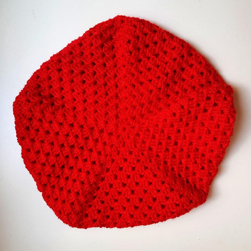 Dragstar clothing hand crocheted red beret ethically made in sydney