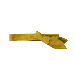 Leather Tie Belt - Yellow