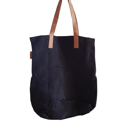dragstar clothing sydney jute tote leather handle charcoal