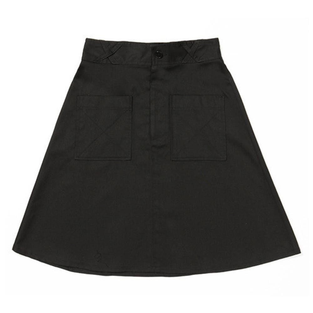 Patch Pocket Skirt - Black Cotton Drill