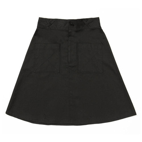 Dragstar Patch Pocket A line Skirt - Black Cotton Drill Ethically made womens Fashion made in Sydney Slow Fashion