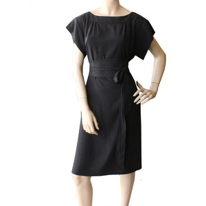 Dragstar Fancy Dress with Obi belt in Black tencel Ethical Slow womens fashion made in Sydney Australia