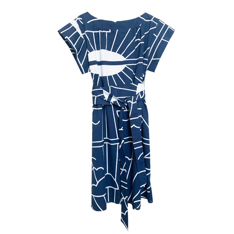 Dragstar Fancy dress - blue sunrise hand screen printed cotton Ethical womens fashion made in Sydney