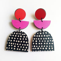 Scoops Layer Earrings - Red & Pink with Dot Arch