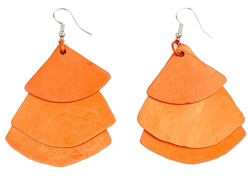 Monica Fan Earrings - Orange