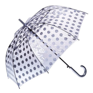 Clifton Umbrella - Clear/Silver Polka Dots