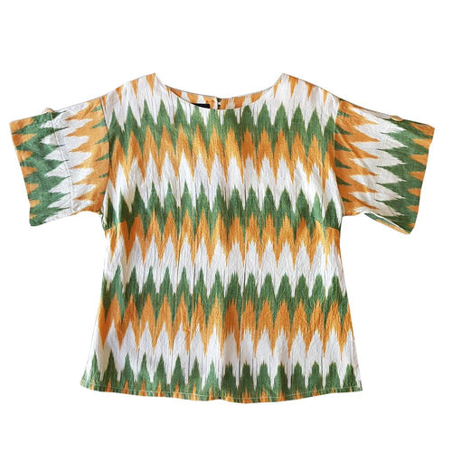 Dragstar Right Box Top - Rainforest tricolour Ethical womens fashion made in Sydney 100% cotton fair trade ikat