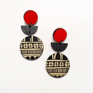 Scoops Layer Earrings - B&W Pattern Circle with Red