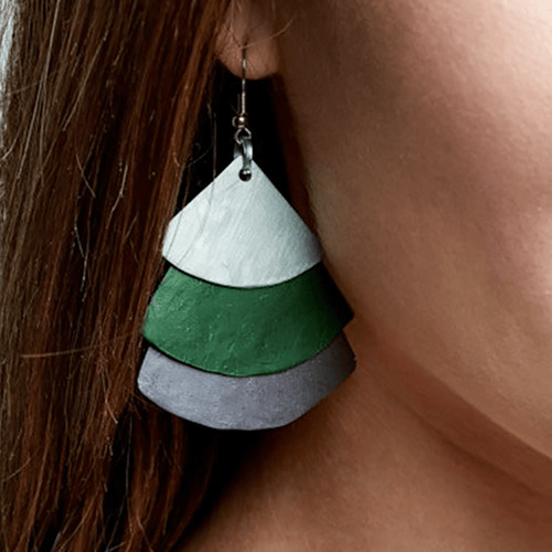 Monica Fan Earrings - Mint Green Grafite