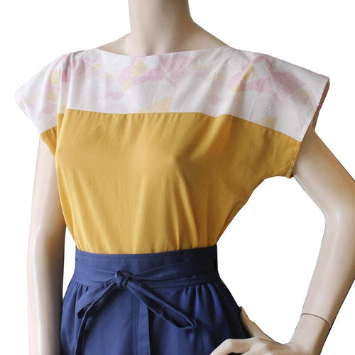 Cotton Mustard and Pink Two Tone Top Dragstar Ethical womens fashion made in Sydney