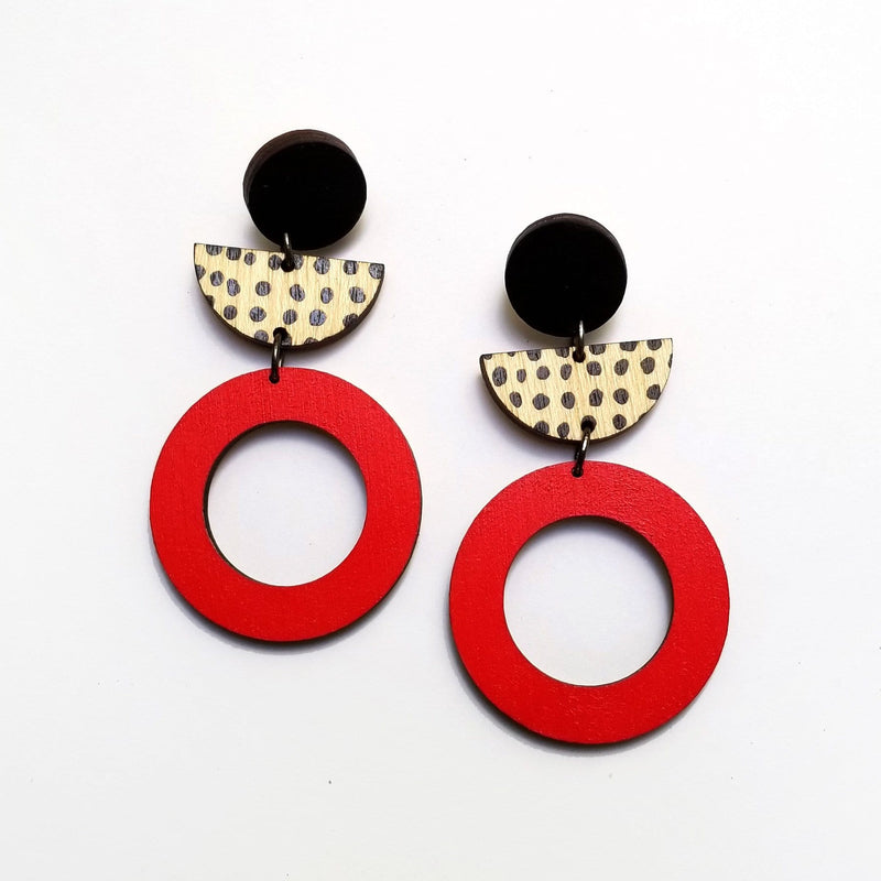 Scoops Layer Earrings - Black Dots & Red Hoop