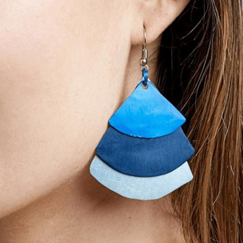 Monica Fan Earrings - Three Blues
