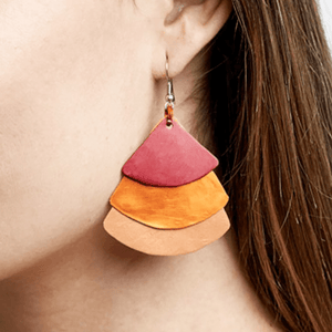 Monica Fan Earrings - Orange Salmon Red