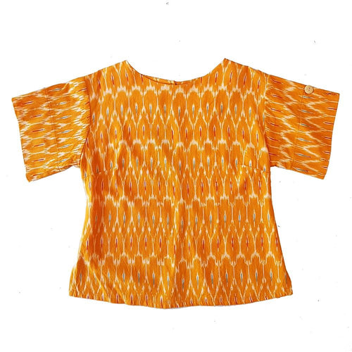 Dragstar Right Box Top - Marigold Ethical womens fashion made in Sydney 100% cotton fair trade ikat
