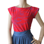 Dragstar Captain Tee - Red/Blue Linescape Ethical womens fashion made in Australia