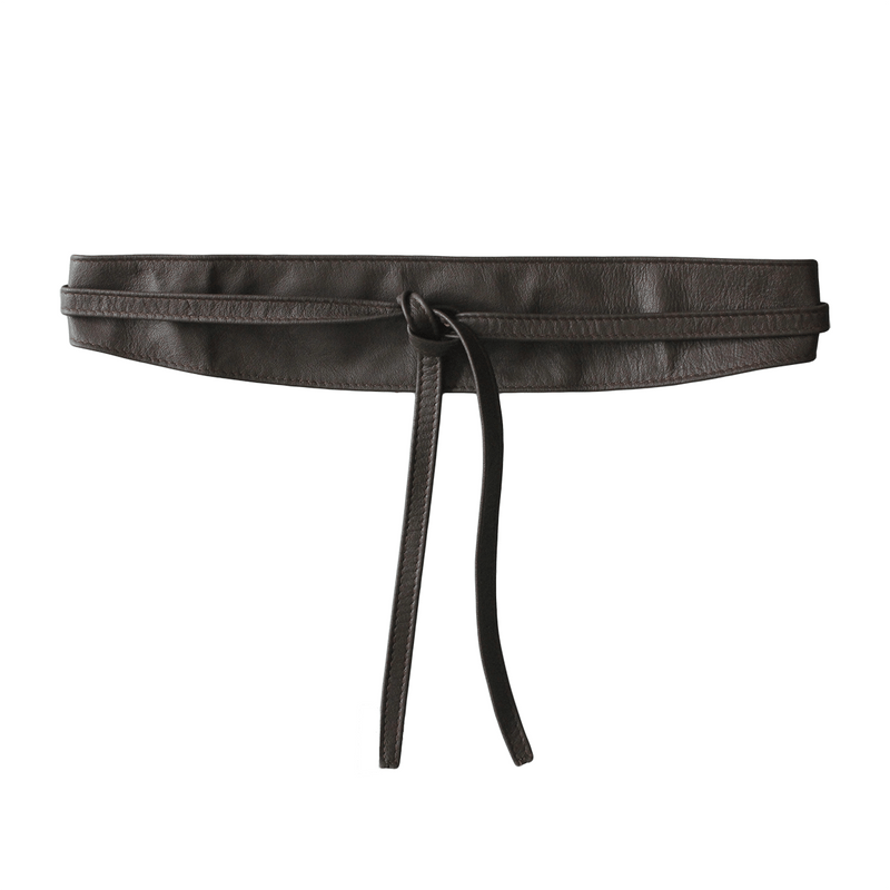 Thin Leather Double Tie Belt - Brown made in Sydney Ethical Womens fashion