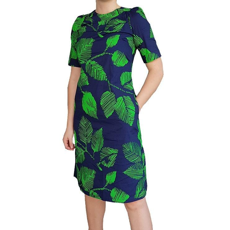 Dragstar Rolled Cuff Dress - navy green leaf print cotton Ethical womens fashion made in Sydney
