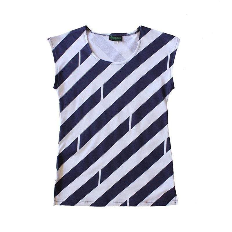 Classic Printed Tee - navy/white stripe Dragstar Ethical womens fashion made in Sydney
