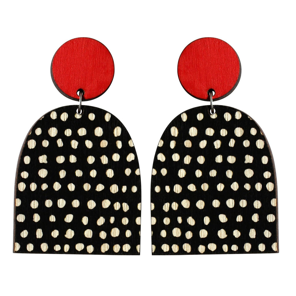 Two Tiered Earrings - Red/Black & White Dots