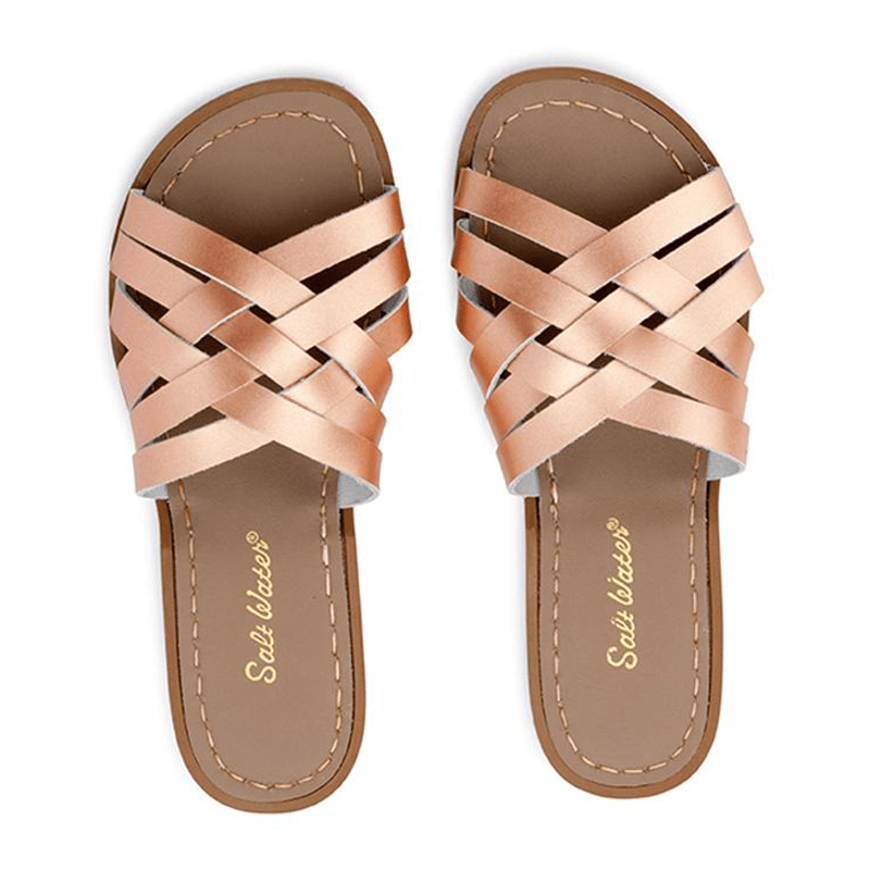 Salt Water Retro Slides - Rose Gold