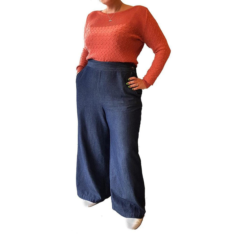 Dragstar Clothing leightweight denim wide leg pants ethically and sustainably made in Sydney Australia