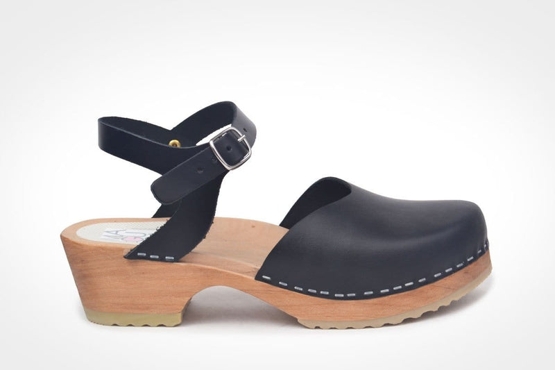 Monterey Clogs - Black Hand made Swedish Clogs at dragstar Clothing in Newtown